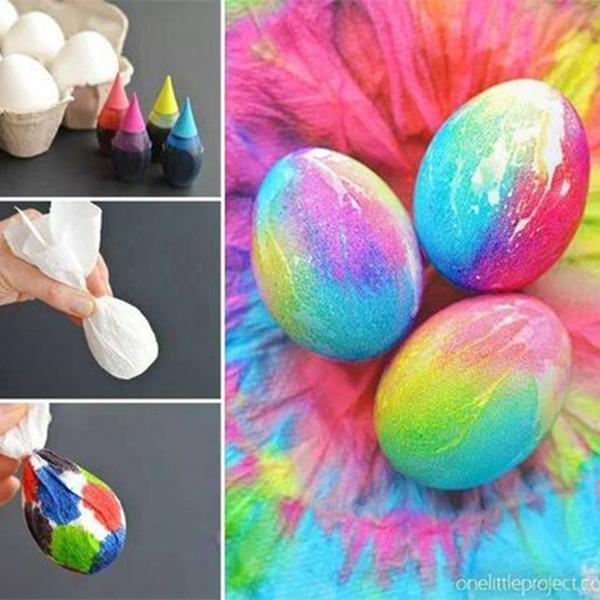 pintar huevos de pascua tie dye